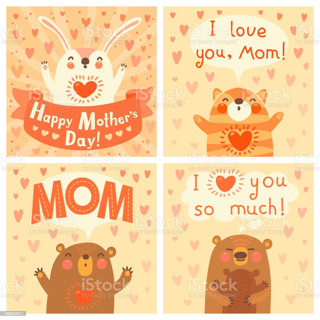 Greeting Card For Mom With Cute Animals Stock Vector Art More