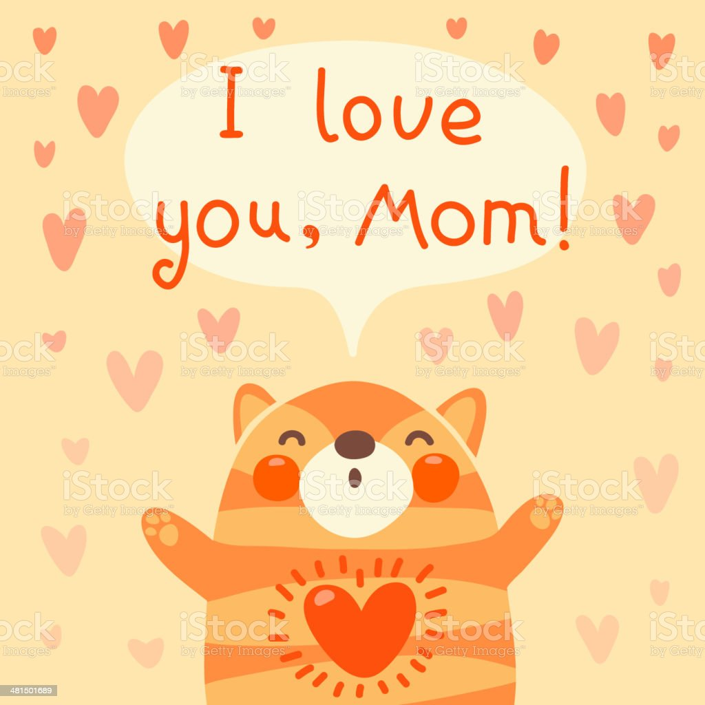 Greeting Card For Mom With Cute Kitten Stock Vector Art More