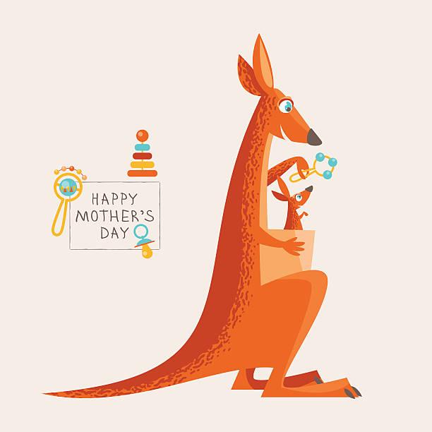 grußkarte für muttertag. kängurutaschen und ein baby. - elternhochzeitsgeschenke stock-grafiken, -clipart, -cartoons und -symbole