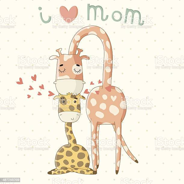 Greeting card for mothers day with cute cartoon giraffes vector id487255269?b=1&k=6&m=487255269&s=612x612&h=wm55vver2l7hpxue920kicffafswrtvridq4s4esmn0=