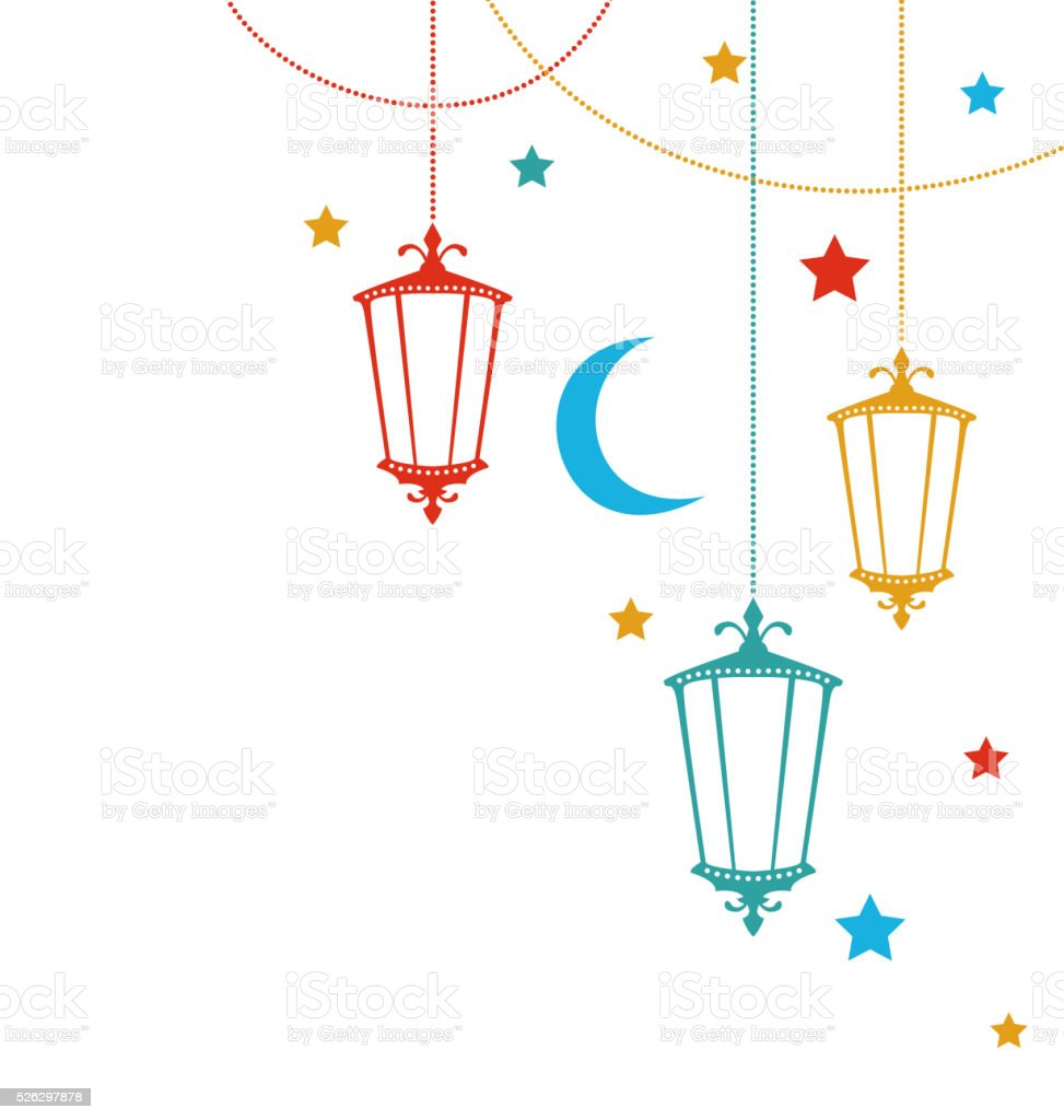 Greeting Card for Ramadan Kareem with Lamps vector art illustration