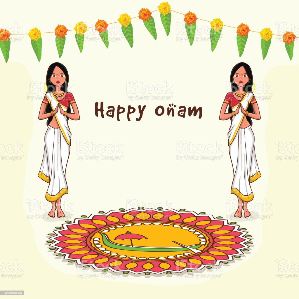 Greeting card for south indian festival onam stock vector art more greeting card for south indian festival onam royalty free greeting card for south kristyandbryce Image collections