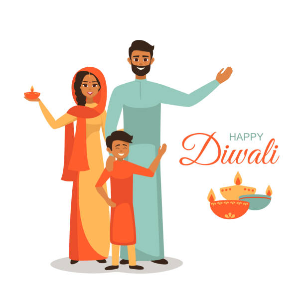 Greeting card for the festival of lights with a wish of happy Diwali and happy family Indian family in the national dress holding lighted lamps for the festival of lights  with a wish of happy Diwali indian family stock illustrations