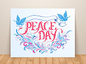 Greeting card for the holiday Peace day. Calligraphy with abstract decor ornament illustration. Template for invitation background