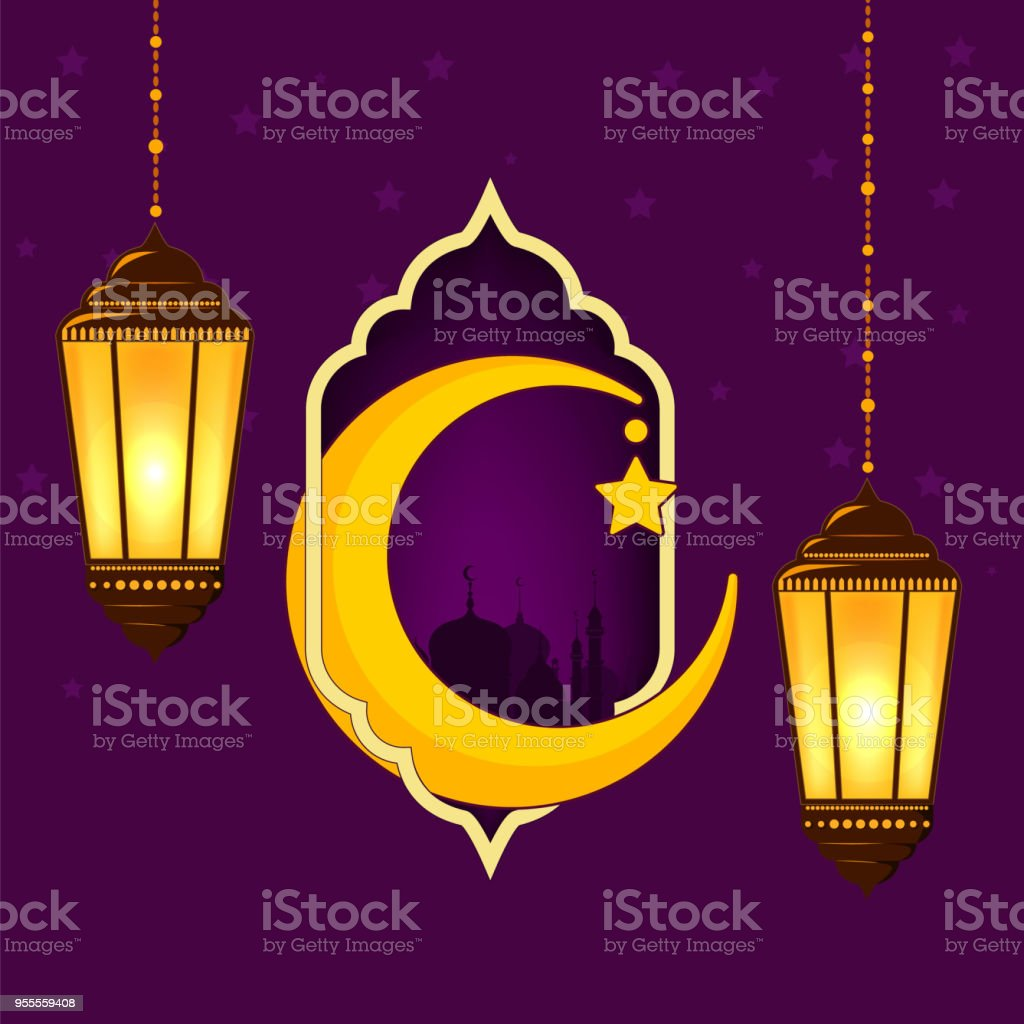 Greeting Card For The Muslim Holiday Of Ramadan Template With A