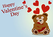 istock Greeting card for Valentine's Day with a cute bear and heart. 1200721488
