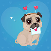 "Cartoon lovely dog on a blue background with hearts. Vector illustration for a postcard or a poster. Text ""Be My Valentine""."