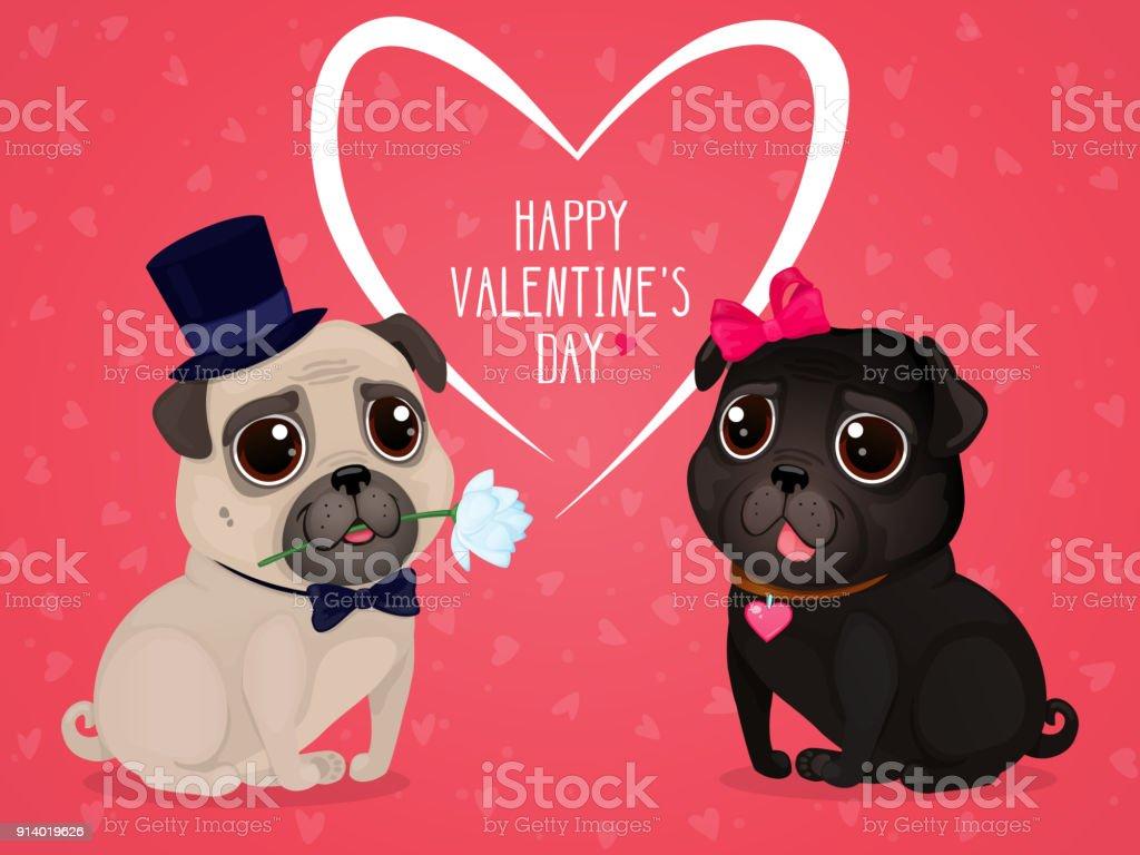 Vetores De Cartão Para Dia Dos Namorados Com Pug Fofo E Mais