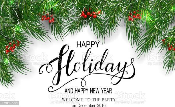 Greeting Card For Winter Happy Holidays — стоковая векторная графика и другие изображения на тему 2017