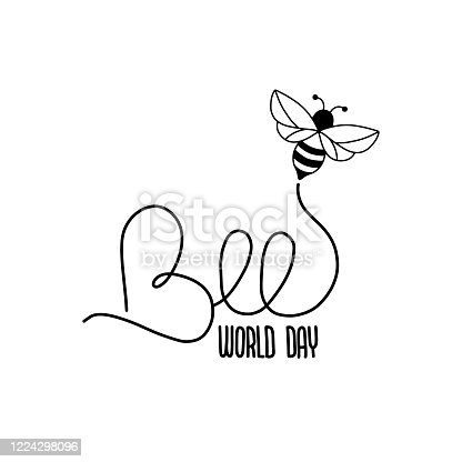 istock Greeting card for World Bee Day in May 20. 1224298096