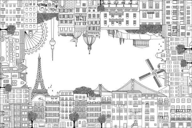 手描き欧州住宅グリーティング カード フレーム - 都市 モノクロ点のイラスト素材/クリップアート素材/マンガ素材/アイコン素材