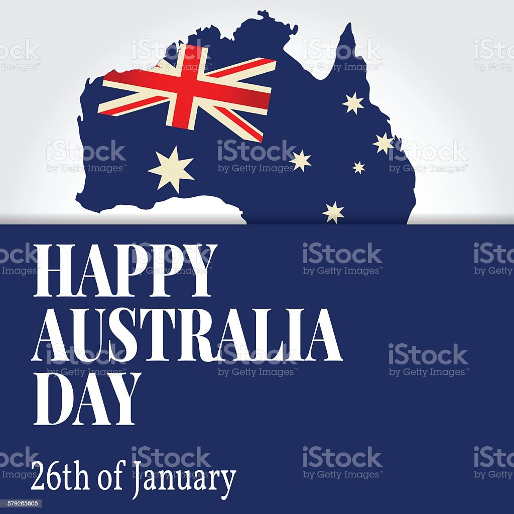 Greeting Card Happy Australia Day National Celebration Stock Vector