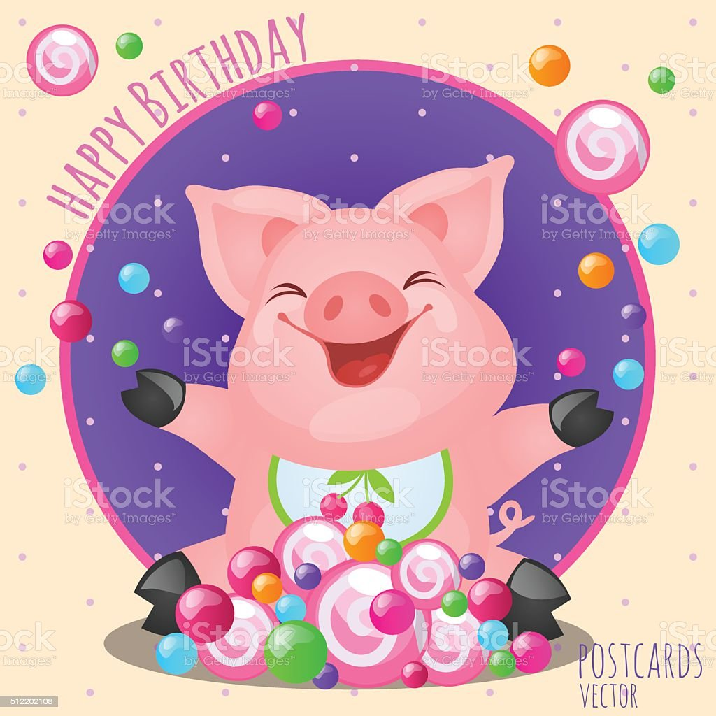 Greeting card happy birthday with funny pig stock vector art more greeting card happy birthday with funny pig royalty free greeting card happy birthday with funny bookmarktalkfo Image collections