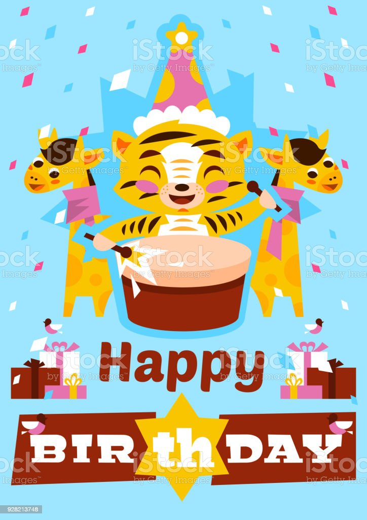 Greeting Card Happy Birthday With Tiger Cub Plays Drums Designed For