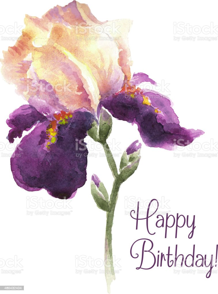 Greeting card happy birthday with watercolor iris flower stock greeting card happy birthday with watercolor iris flower royalty free greeting card happy birthday with izmirmasajfo