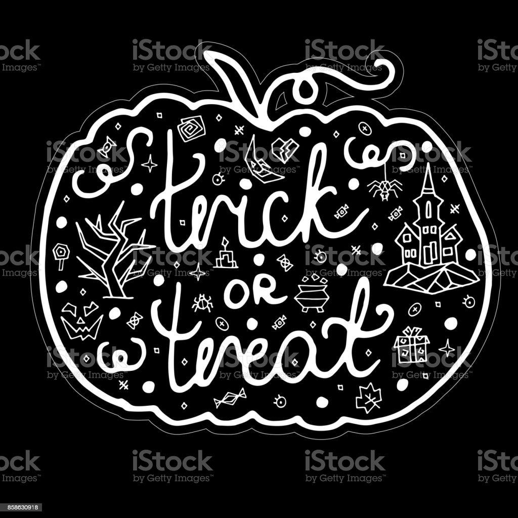 Grusskarte Happy Halloween mit Kürbis – Vektorgrafik