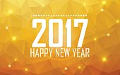 Greeting card Happy New Year 2017. Polygonal background, stars,