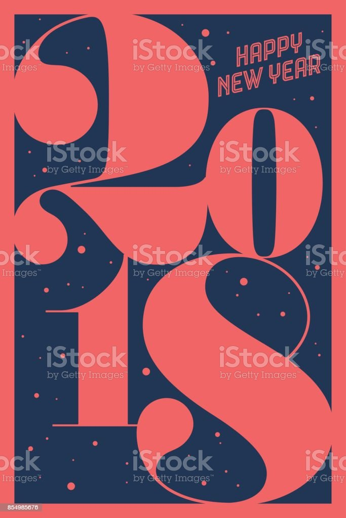 Greeting card Happy New Year 2018 vector art illustration