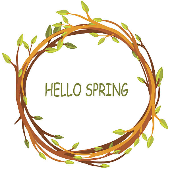 greeting card, hello spring in circle of twigs - twig stock illustrations, clip art, cartoons, & icons