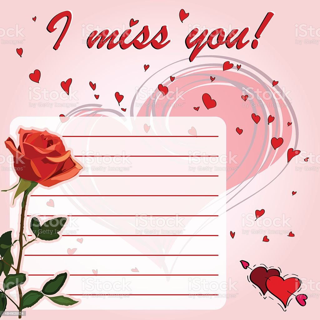 Greeting Card I Miss You With Flower Red Rose Stock Vector Art
