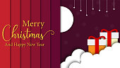 greeting card illustration of merry christmas and happy new year paper art vector background Premium Vector