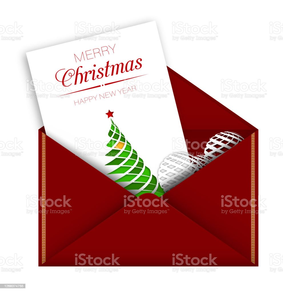 Last Day To Mail Christmas Cards 2021 Greeting Card In Red Envelope For Christmas And New Year Delivery Of Holiday Mail By Santa Claus Merry Christmas And New Year 2021 Realistic Vector On White Background Stock Illustration Download