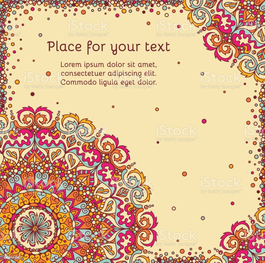 Greeting card, invitation + empty place for text. Asian Indian oriental ornamental lace square banner in vibrant colors royalty-free greeting card invitation empty place for text asian indian oriental ornamental lace square banner in vibrant colors stock vector art & more images of antique