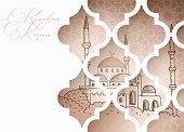 Greeting card, invitation for Muslim holiday Ramadan Kareem. Hand drawn mosque through ornamental arab window. Line art design.Vector illustration background, decorative pattern.