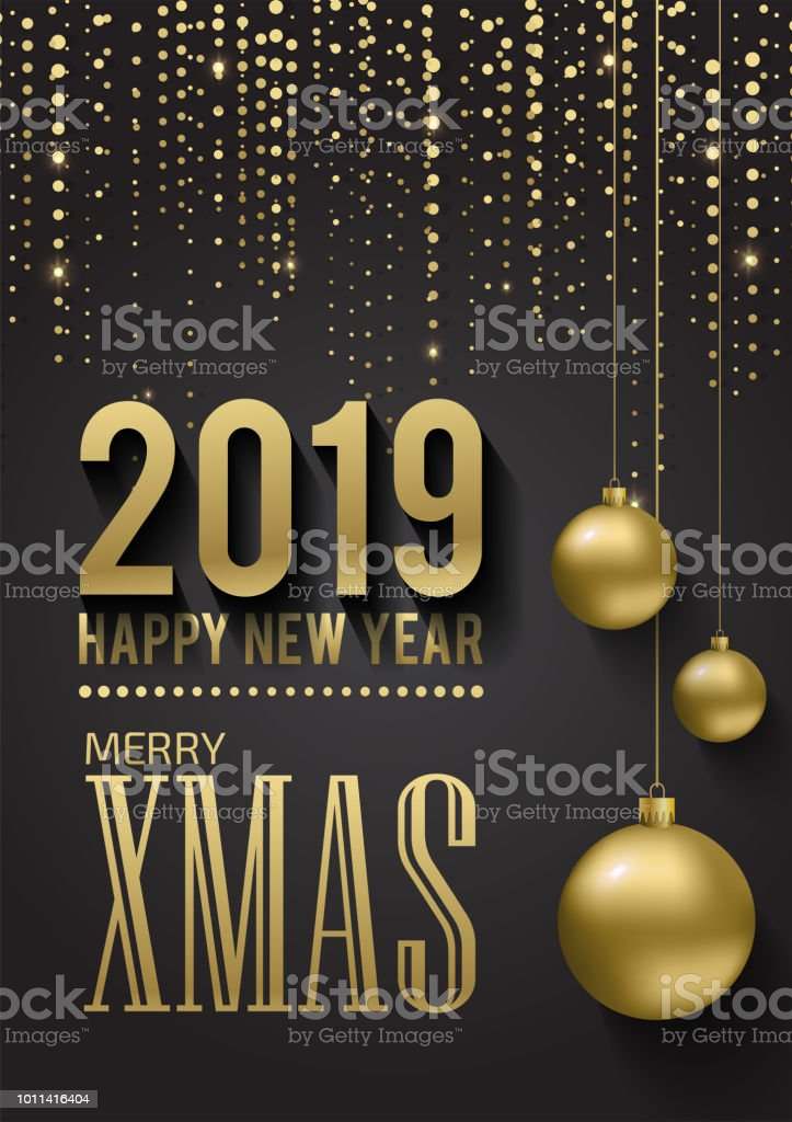 greeting card invitation with happy new year 2019 and christmas metallic gold christmas balls