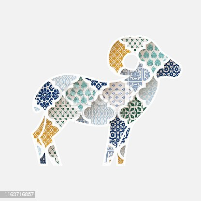 Greeting card, invitation with silhouette of ornamental sheep. Colorful Moroccan, arab pattern tiles fill.  Eid al Adha holiday, muslim community festival of sacrifice. Vector illustration background.