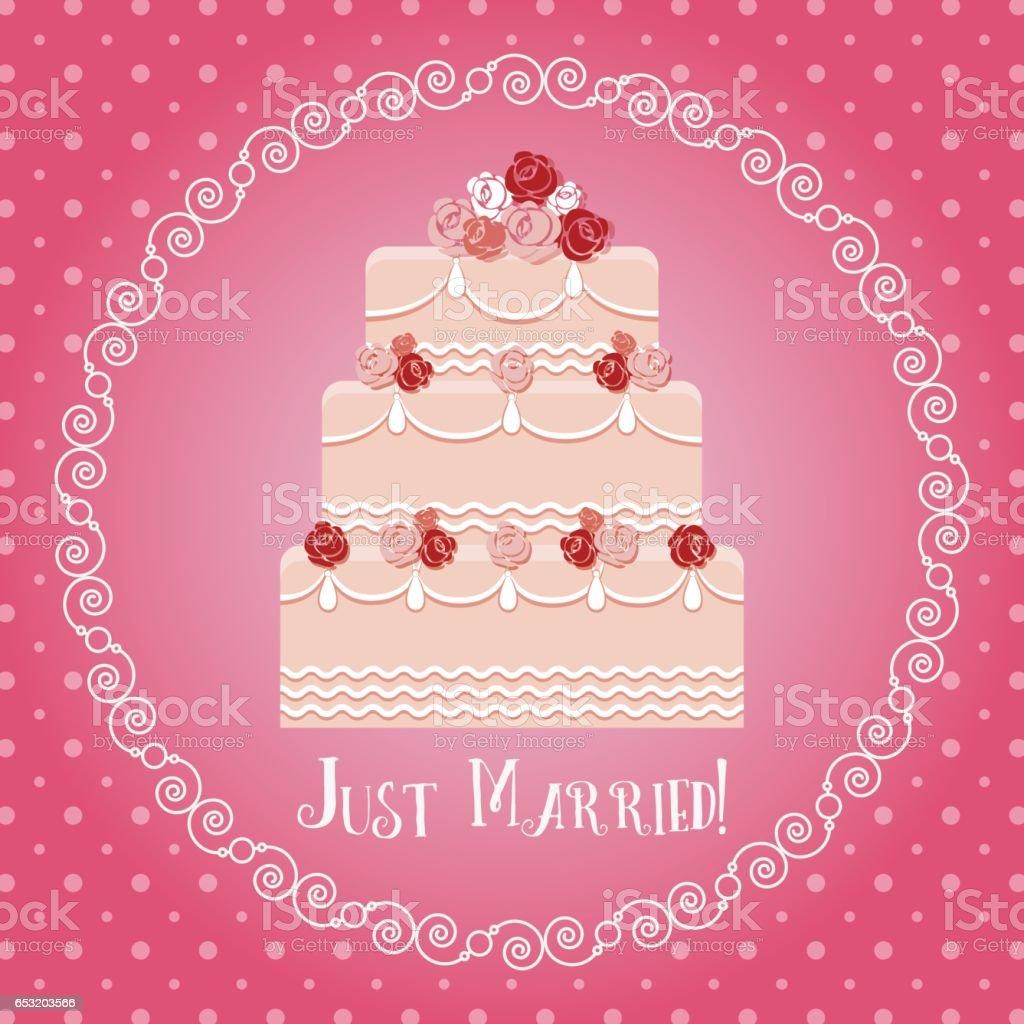 Just Married Grusskarte Mit Hochzeitstorte Im Runden Rahmen Vektor