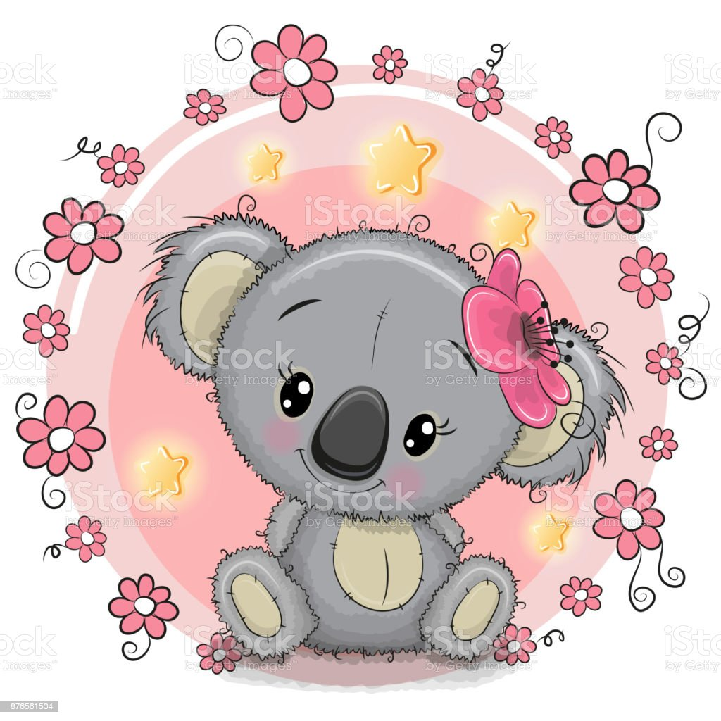 Greeting card Koala with flowers vector art illustration