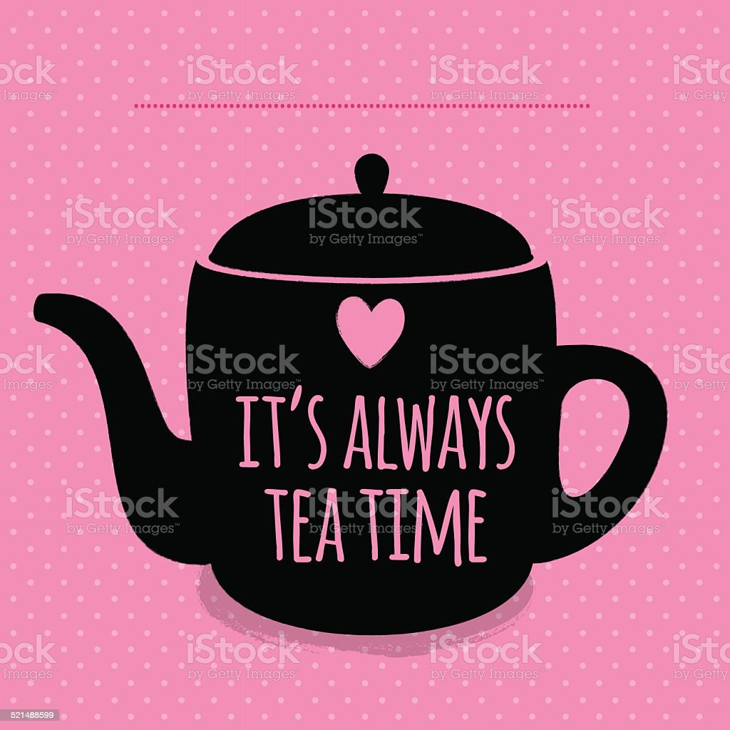 Greeting card. Lettering. I love tea. vector art illustration