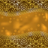 greeting card made from golden lace with snowflakes