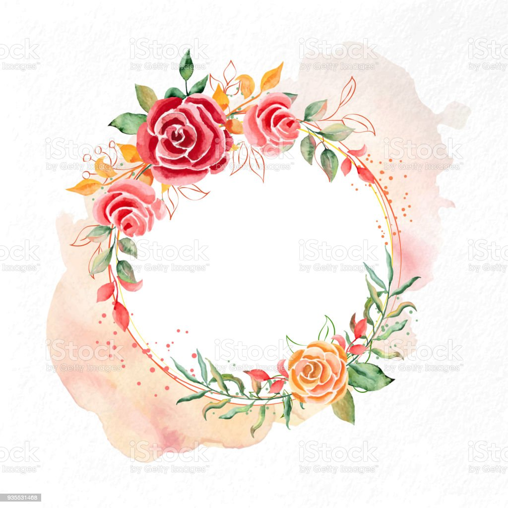 Greeting Card Made Of Watercolor Flowers Stock Vector Art More