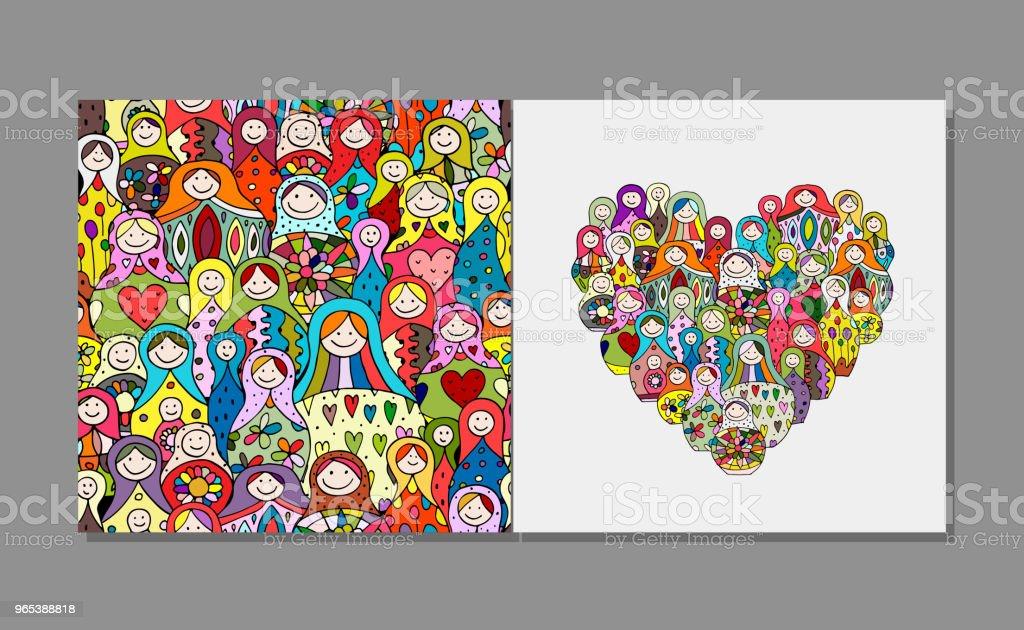 Greeting card, Matryoshka, russian nesting dolls design greeting card matryoshka russian nesting dolls design - stockowe grafiki wektorowe i więcej obrazów afganistan royalty-free