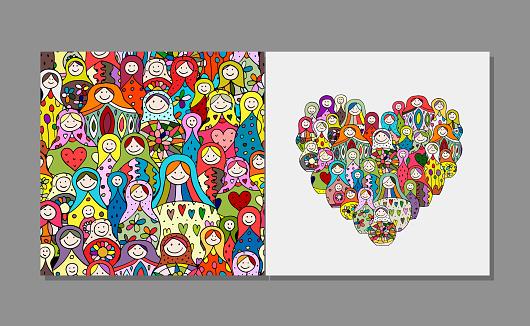 인사말 카드 마트 러시아 중첩 인형 디자인 0명에 대한 스톡 벡터 아트 및 기타 이미지