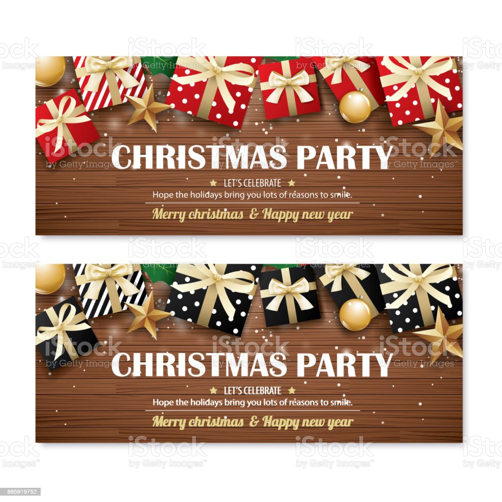 greeting card merry christmas party poster banner design template on wooden background happy holiday and