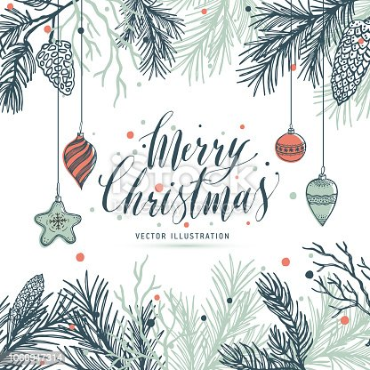 Greeting card mery christmas with pine and strobile
