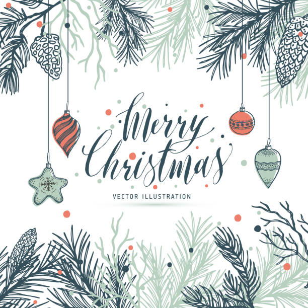 greeting card mery christmas with pine and strobile and toys. - merry christmas stock illustrations
