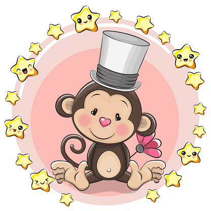 Greeting card Monkey with stars