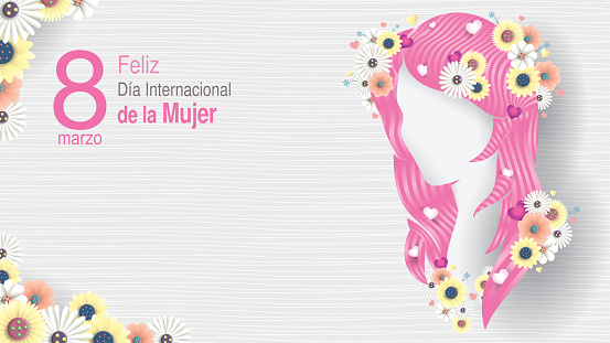 Greeting Card of DIA INTERNATIONAL DE LA MUJER - INTERNATIONAL WOMEN S DAY in Spanish language. Silhouette of woman head with long pink hair decorated with hearts, white and yellow flowers on white background