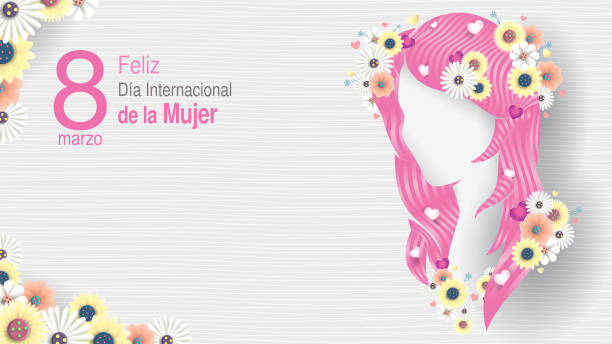 greeting card of dia international de la mujer - international women s day in spanish language. silhouette of woman head with long pink hair decorated with hearts, white and yellow flowers on white background - alejomiranda stock illustrations