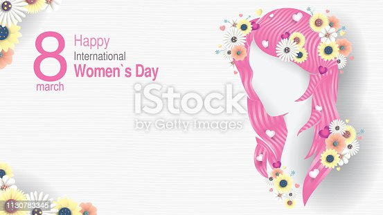 Greeting Card of INTERNATIONAL WOMEN S DAY. Silhouette of woman head with long pink hair with hearts inserted between the hair and decorated with white and yellow flowers on white background with copy space. Vector image