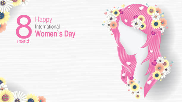 greeting card of international women s day. silhouette of woman head with long pink hair with hearts inserted between the hair and decorated with white and yellow flowers on white background - alejomiranda stock illustrations