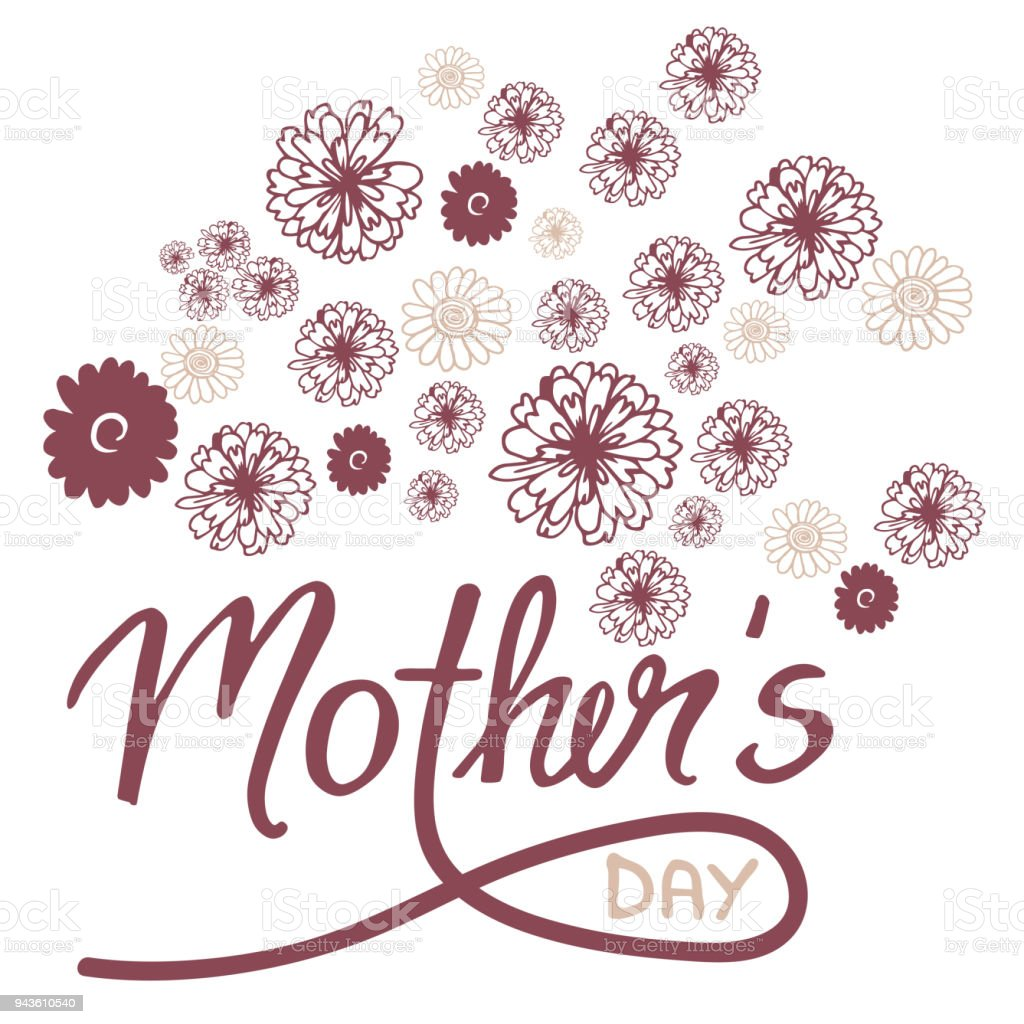 Greeting Card On Mothers Day With Flowers And Handwritten Text