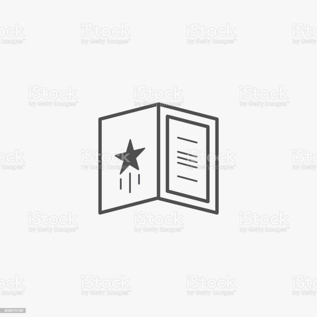 greeting card or invitation vector icon open booklet with design