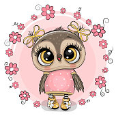 Greeting card Cute Cartoon owl with flowers on a pink background