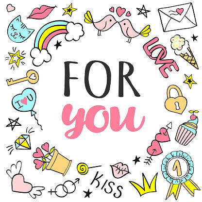 Greeting card, poster with For You lettering and hand drawn girly doodles.