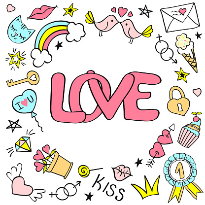 Greeting card, poster with Love lettering and hand drawn girly doodles